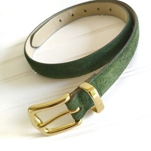 Fossil Green Suede Belt Goldtone Buckle Sz M Eden